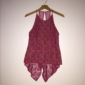 Tops - Burgundy lace shirt